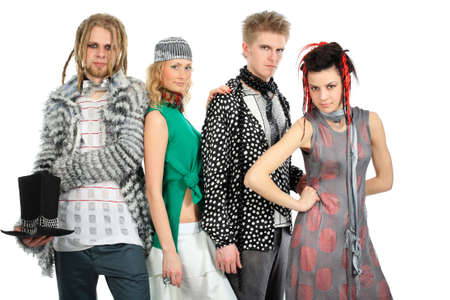 Shot of stylish model group in fashionable clothes.  photo