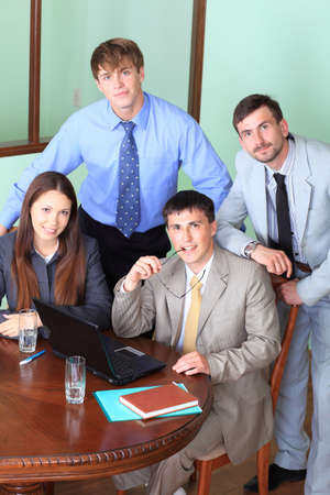 Business theme: business people in a work process in office. Stock Photo - 5153948