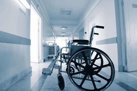 Medical theme: a wheel chair in a hospital. photo