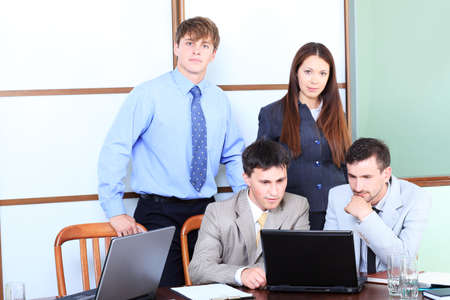 Business theme: business people in a work process in office. Stock Photo - 5185514