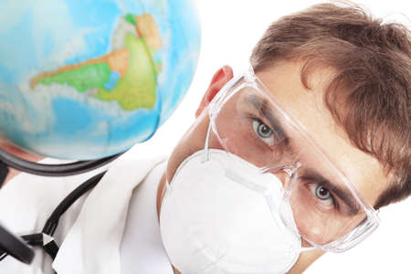 ah1n1: Medical theme: serious doctor working in a laboratory.