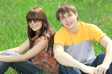 Beautiful couple having a rest outdoor. Stock Photo - 5477234