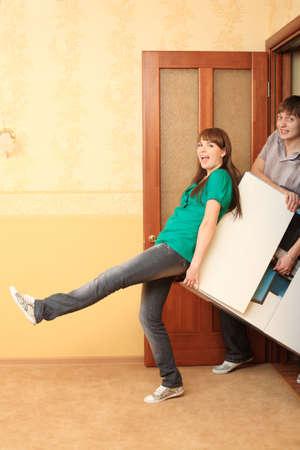 hypothec: Family theme: new home, happy family. Stock Photo