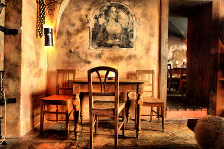 Shot of a restaurant designed at a medieval style. photo