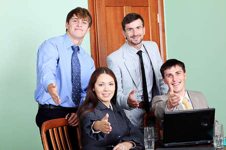 Business theme: business team in a work process in office. photo