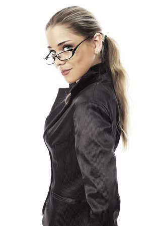 sexy teacher: Business woman on a white background