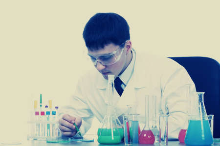 Medical theme: scientist  in a laboratory, research process. photo