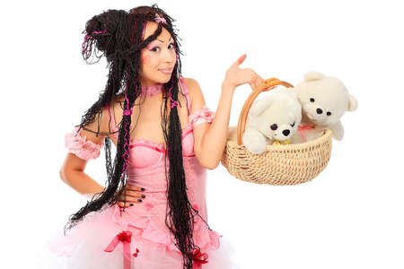 Beautiful cosplay young woman in a doll costume.  photo