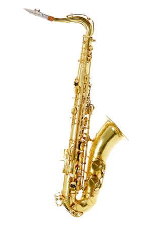vibrate: Shot of a saxophone isolated on white background. Stock Photo