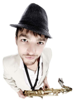 Portrait of a man playing the saxophone. Stock Photo - 5782104