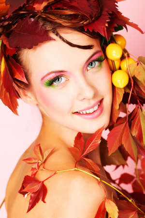 Portrait of a styled professional model. Theme: beauty, autumn fashion photo