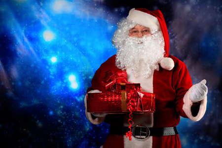 saint nick: Christmas theme: Santa  gifts, snowy design.