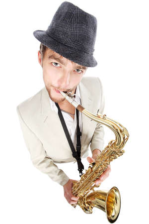 Portrait of a man playing the saxophone. photo