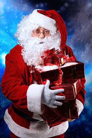 Christmas theme: Santa  gifts, snowy design. Stock Photo - 5889090