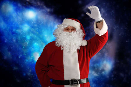 Christmas theme: Santa  gifts, snowy design. Stock Photo - 5898756