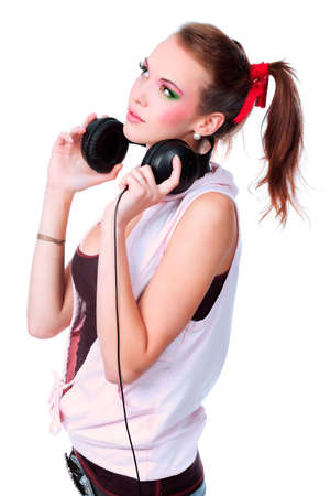 girl headphones: Portrait of a styled professional model. Theme: music, leisure