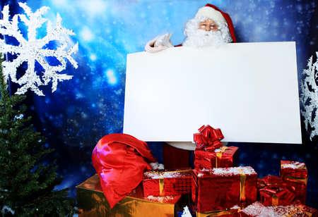 father christmas: Christmas theme: Santa  gifts, snowy design.