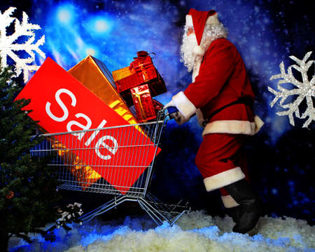 Christmas theme: Santa  gifts, shopping and snowy design. Stock Photo - 5938114