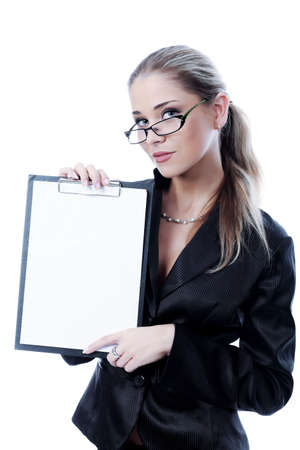 Business woman on a white background photo