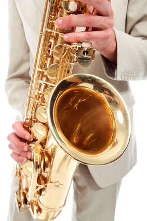 saxophone: Retrato de un hombre tocando el saxof�n. Foto de archivo