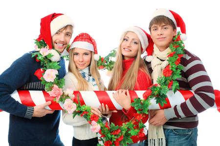 Group of young people celebrating christmas. photo