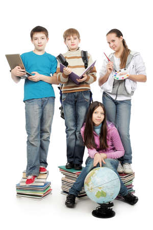 primary school: Educational theme: group of emotional teenagers standing together.  Stock Photo