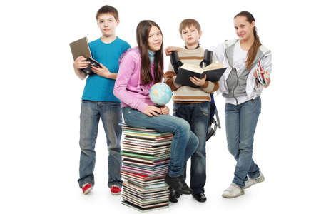 secondary education: Educational theme: group of emotional teenagers standing together.  Stock Photo
