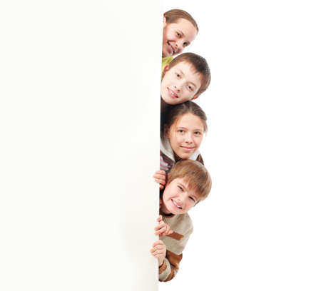 schoolchild: Group of teenagers looking out white board.