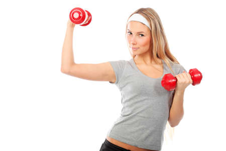 Shot of a young woman with  dumbbells. Active sporty  life, wellness. Stock Photo - 6098559