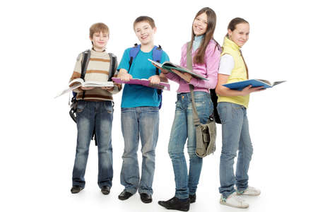 secondary school: Educational theme: group of emotional teenagers standing together.  Stock Photo
