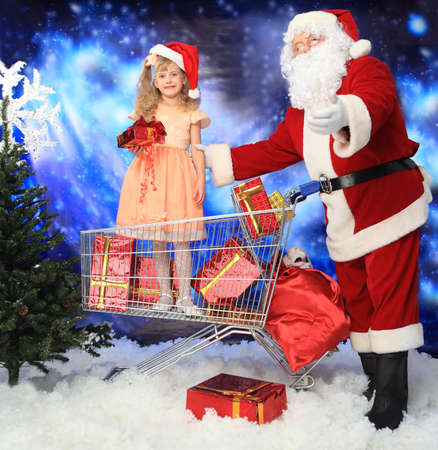 Christmas theme: Santa  gifts, shopping with a child. Stock Photo - 6098159