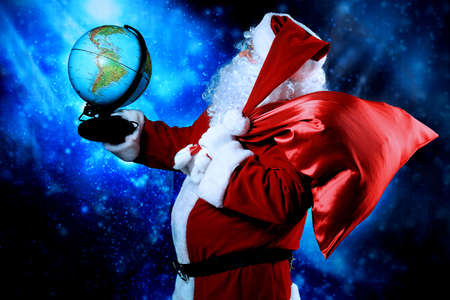 nick: Christmas theme: Santa  gifts, snowy design.