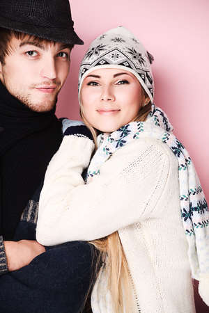 couple winter: Portrait of embracing young couple in warm clothes.