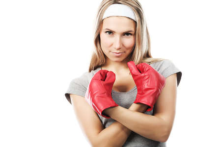 Shot of a boxing young woman. Active sporty  life, wellness. photo
