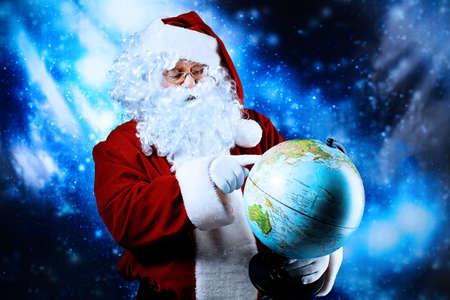 Christmas theme: Santa  gifts, snowy design. Stock Photo - 6139906