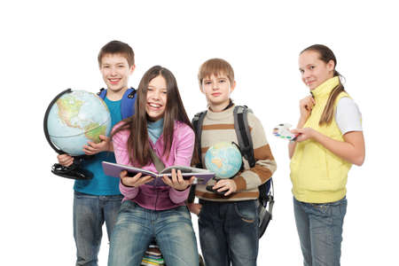 cute teen boy: Educational theme: group of emotional teenagers standing together.  Stock Photo