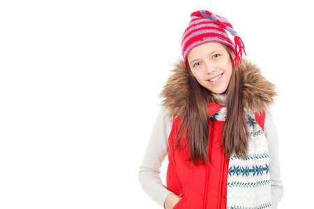 warm clothes: Ritratto di un adolescente ragazza carina che indossa vestiti caldi.