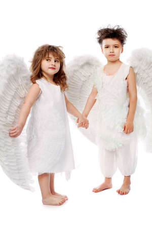 Beautiful little angels. Isolated over white background. Stock Photo - 6271282