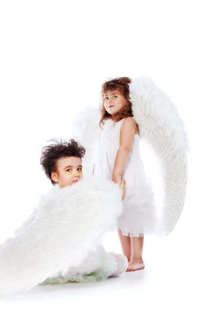 Beautiful little angels. Isolated over white background. Stock Photo - 6271272