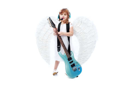 Beautiful little angel with a guitar at a white background. Stock Photo - 6271280
