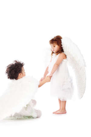 Beautiful little angels. Isolated over white background. Stock Photo - 6299927