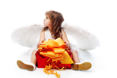 Beautiful little angel isolated over white background. Stock Photo - 6437231