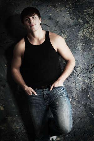 boy underwear: Portrait of a handsome muscular male model.