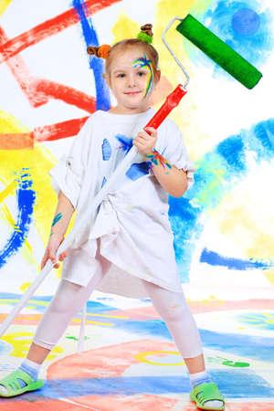 Portrait of a beautiful child enjoying her painting. Education. Stock Photo - 6505161