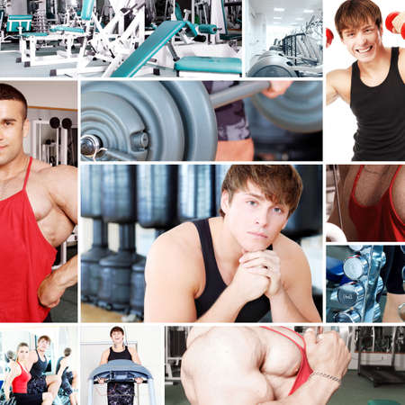 Collage of sporty pictures: people, equipment.  photo