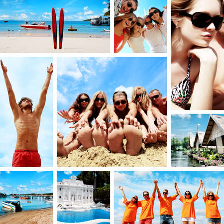 cruises: Collage of summer pictures with young people on the beach.  Stock Photo