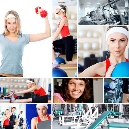 fitness center: Collage of sporty pictures: people, equipment.
