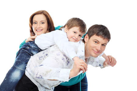 Portrait of a happy family. Isolated over white background. photo