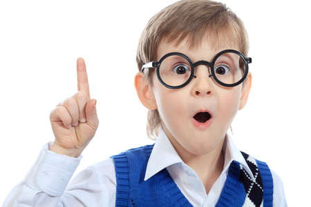 funny glasses: Portrait of a little smiling boy in a funny glasses. Isolated over white background. Stock Photo