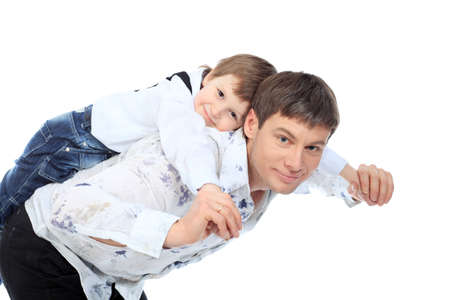 Happy father with his son. Isolated over white background. photo
